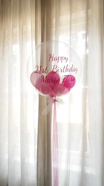 personalised clear balloon with mini balloons inside