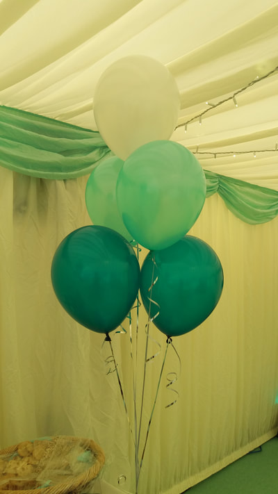 mint, teal and white balloons