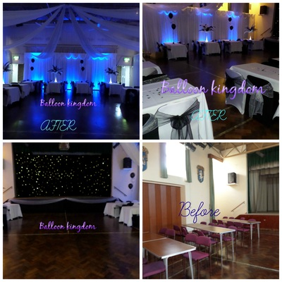 Wraysbury village hall before and after wall drapes