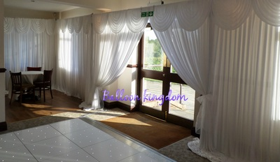 white wedding wall drapes at richings park golf club