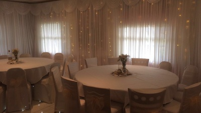 wall drapes wedding decorations  at thorney park golf club