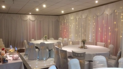 wall drapes and fairy lights at Thorney park golf club