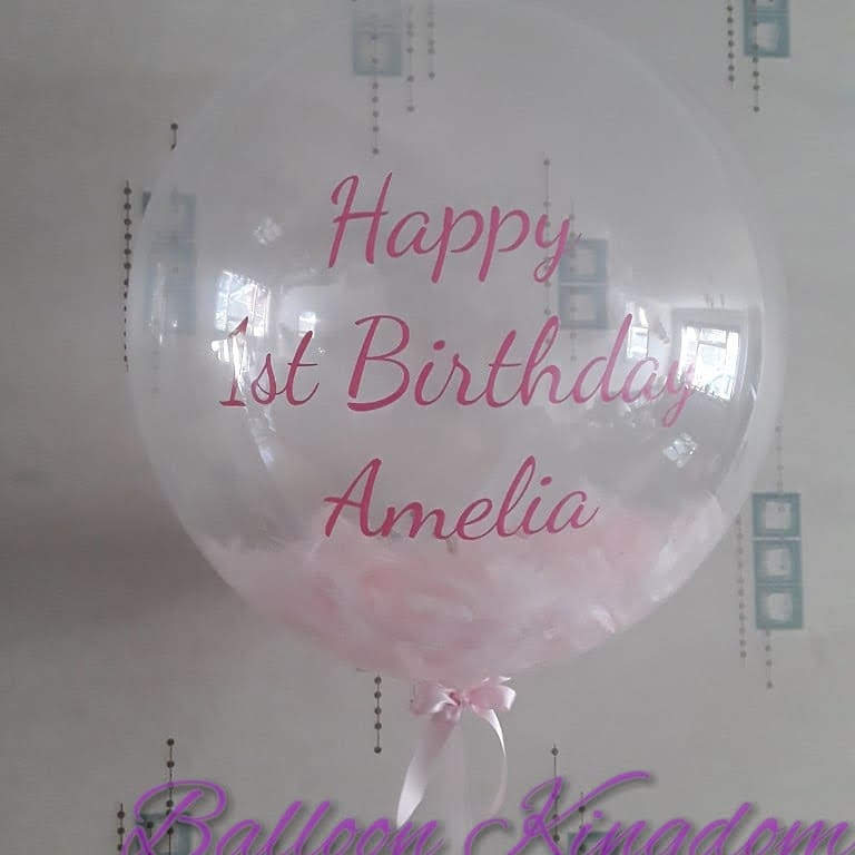 feather filled personalised bespoke bubble balloon