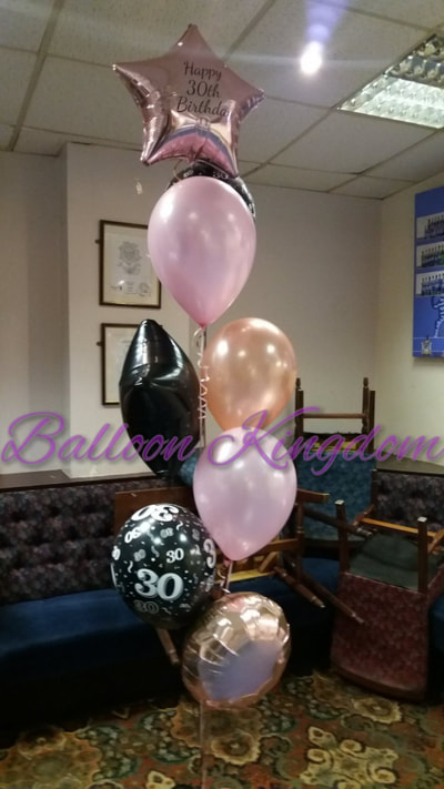 Rose gold pink and black mixed balloon bouquet