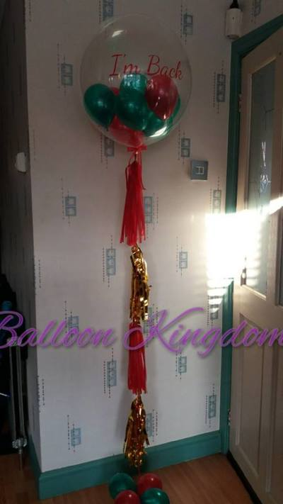 Personalised balloon with mini balloons inside and tassel tail