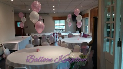 pink and white Christening  balloons