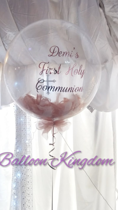 personalised feather first communion balloon