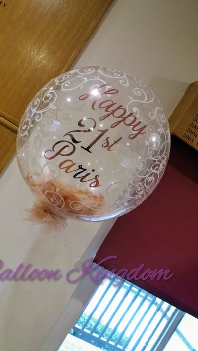 personalised 21st feather balloon